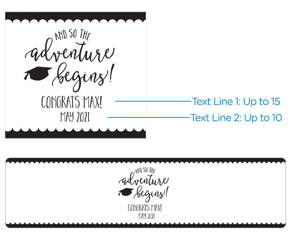 Personalized Water Bottle Labels - Graduation Adventure Begins