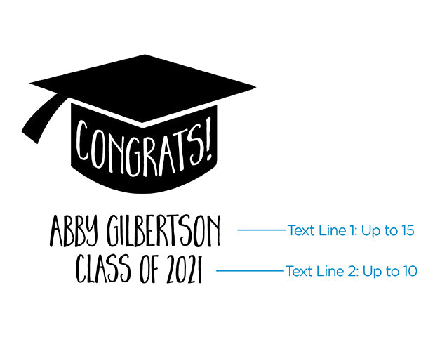 Personalized 16 oz. Pint Glass - Congrats Graduation Cap