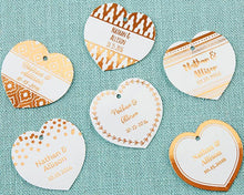 Load image into Gallery viewer, Personalized Heart Foil Tag - Copper (Set of 36)