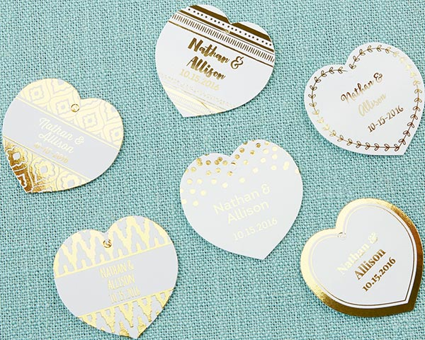 Load image into Gallery viewer, Personalized Heart Foil Tag - Gold (Set of 36)