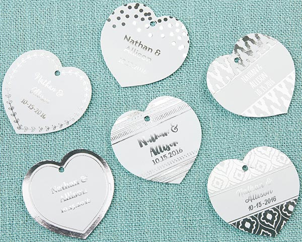 Load image into Gallery viewer, Personalized Heart Foil Tag - Silver (Set of 36)