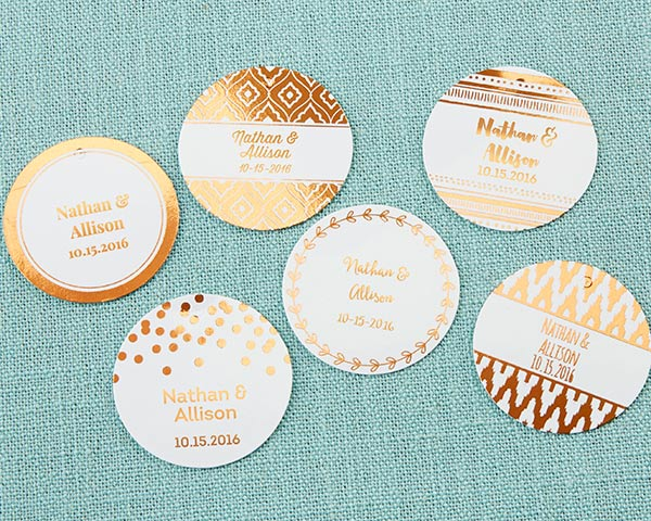 Personalized Circle Foil Tag - Copper (Set of 36)