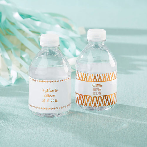 Personalized Water Bottle Labels - Copper Foil
