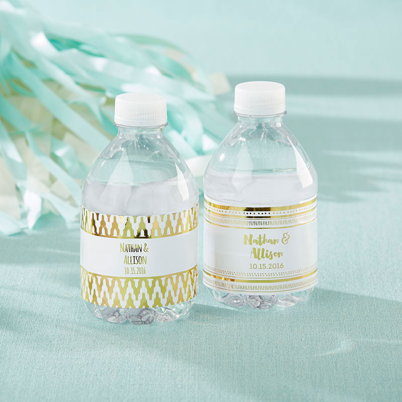 Personalized Water Bottle Labels - Gold Foil