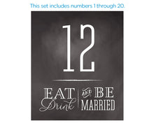 Load image into Gallery viewer, Wine Label Table Numbers - Eat Drink be Married (1-20)