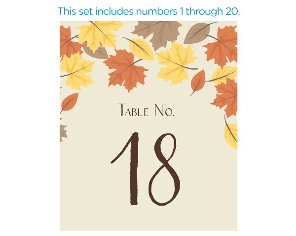 Wine Label Table Numbers - Fall Leaves (1-20)