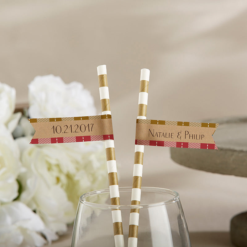 Personalized Party Straw Flags - Fall