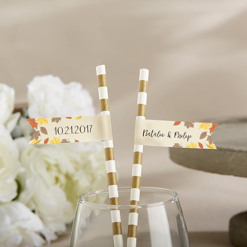 Personalized Party Straw Flags - Fall Leaves
