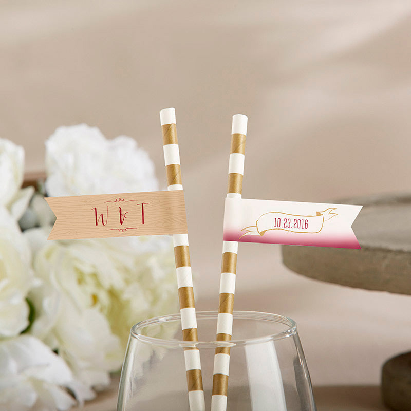 Personalized Party Straw Flags - Vineyard