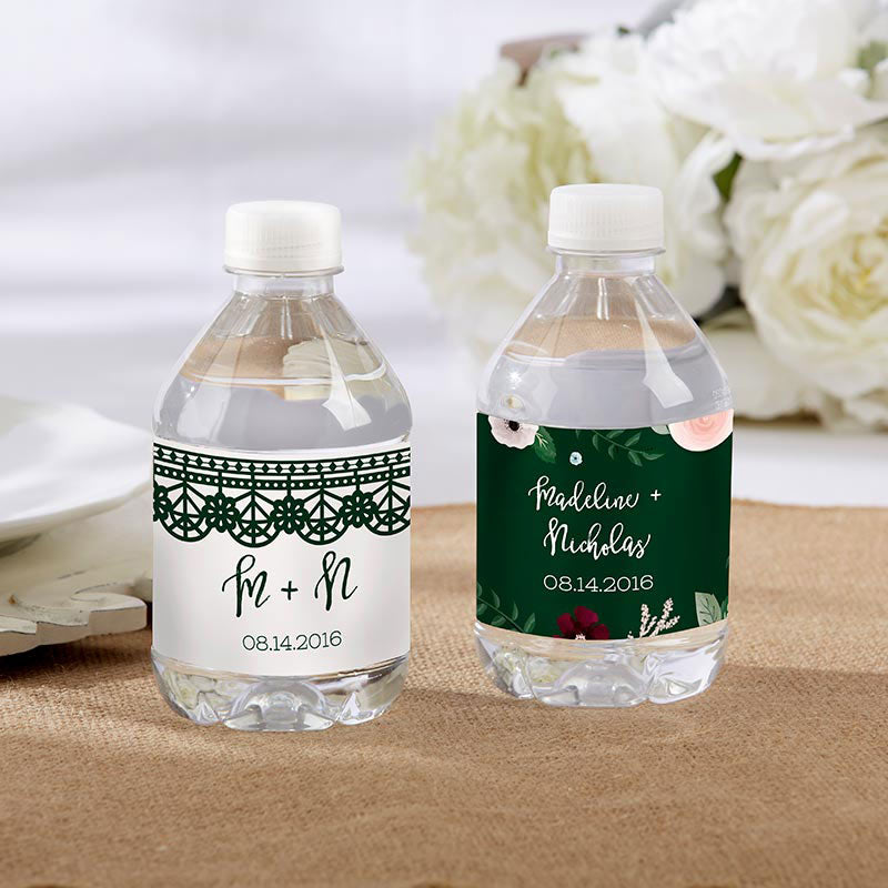 Personalized Romantic Garden Water Bottle Labels - Lace & Floral Designs