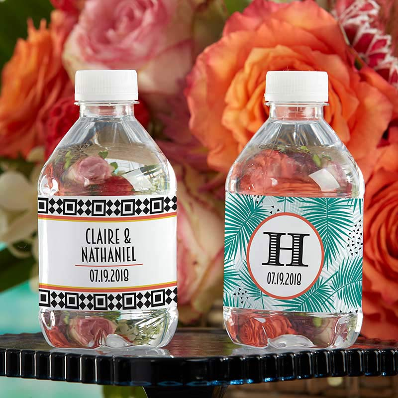 Personalized Water Bottle Labels - Tropical Chic