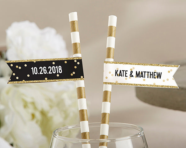 Personalized Party Straw Flags - Party Time