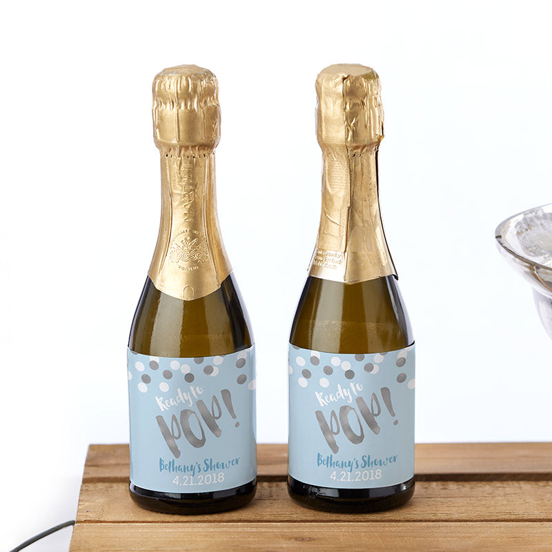 Personalized Mini Wine Bottle Labels - Ready to Pop (Boy)