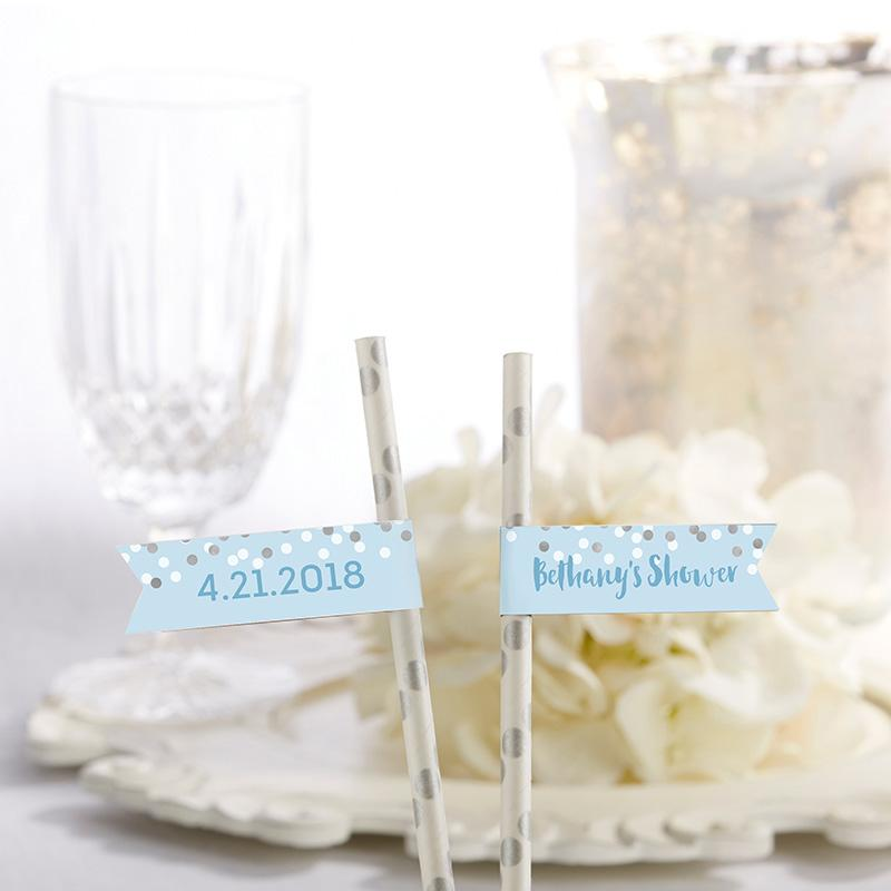 Personalized Party Straw Flags - It's a Boy!