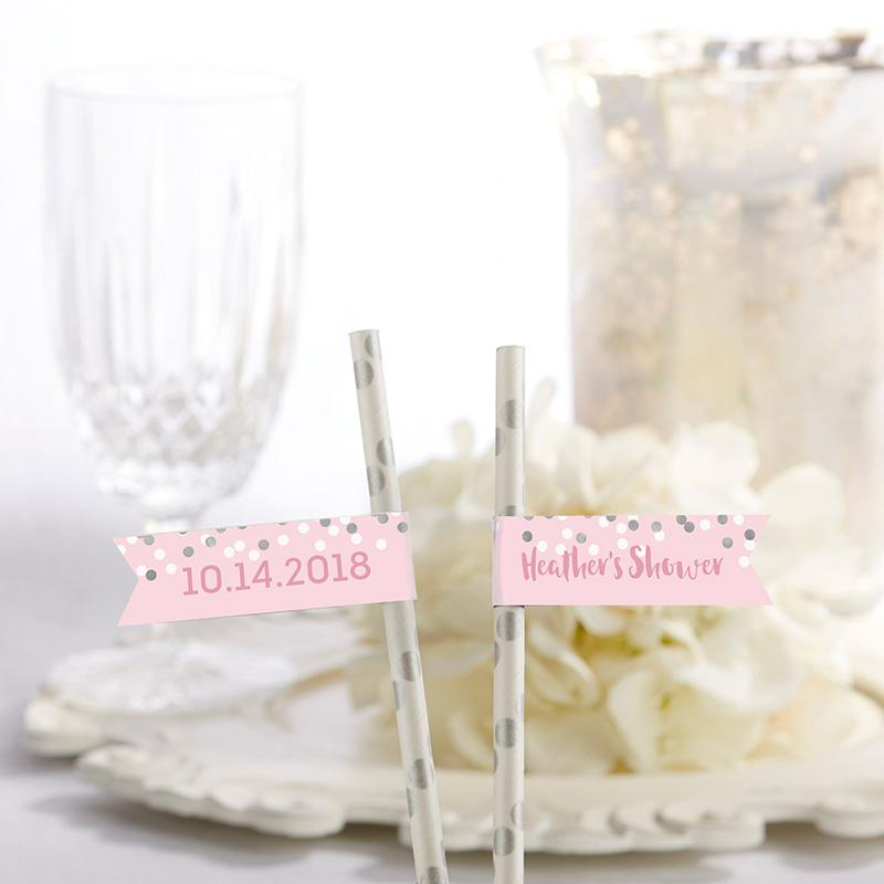 Personalized Party Straw Flags - It's a Girl!