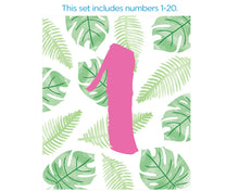Load image into Gallery viewer, Wine Label Table Numbers - Pineapples & Palms (1-20)