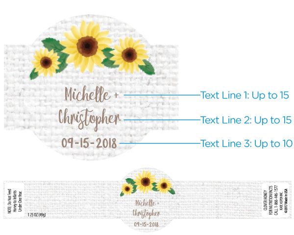 Personalized Clover Honey - Sunflower (Set of 12)
