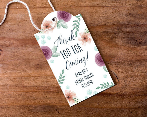 Personalized Statement Tags - Bridal Floral (Set of 12)