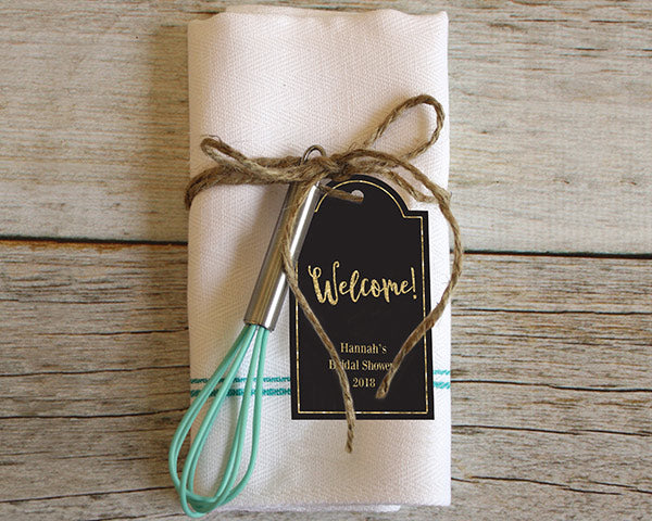 Personalized Statement Tags - Gold Glitter (Set of 12)