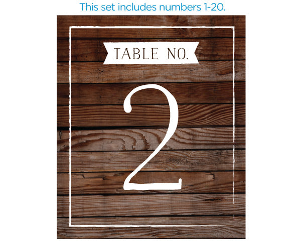 Wine Label Table Numbers - Winter (1-20)