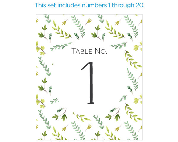 Wine Label Table Numbers - Botanical Garden (1-20)