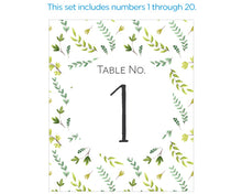 Load image into Gallery viewer, Wine Label Table Numbers - Botanical Garden (1-20)