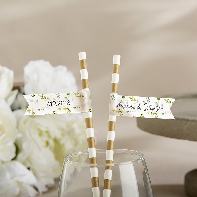 Personalized Party Straw Flags - Botanical Garden