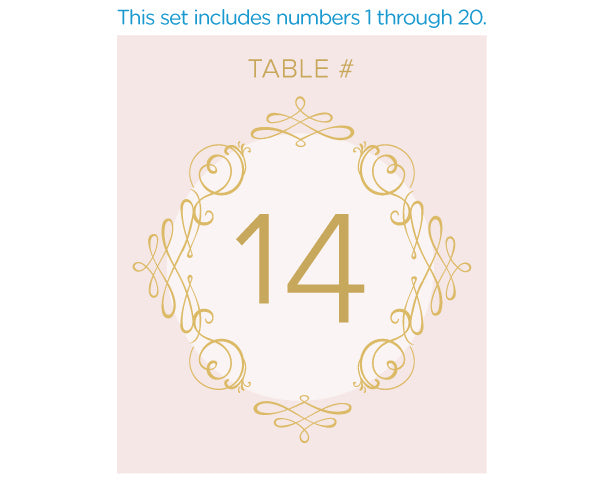 Wine Label Table Numbers - Modern Romance (1-20)