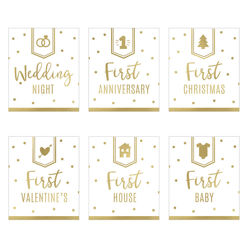 Load image into Gallery viewer, Marriage Milestones Wine Bottle Label - Classic (Set of 6)