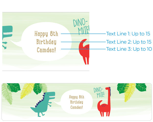 Personalized Water Bottle Labels - Dino Party