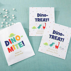 Personalized White Goodie Bag - Dino Party (Set of 12)