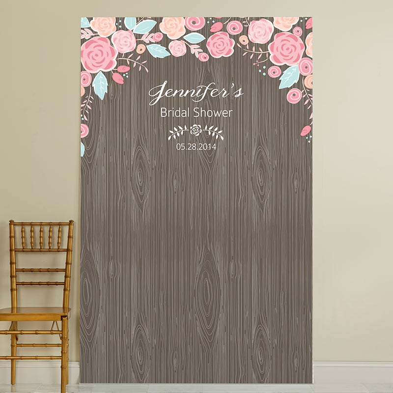 Personalized Photo Backdrop - Kate's Rustic Bridal Collection - Woodgrain
