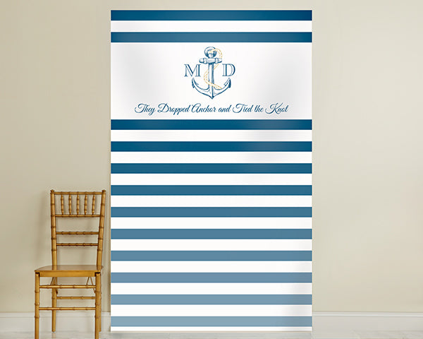 Personalized Photo Backdrop - Kate's Nautical Wedding Collection - Royal Blue Stripe