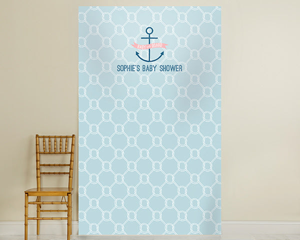 Personalized Photo Backdrop - Kate's Nautical Baby Shower Collection - Nautical Rope