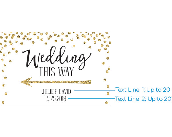 Personalized Directional Sign (18x12) - Gold Glitter Wedding