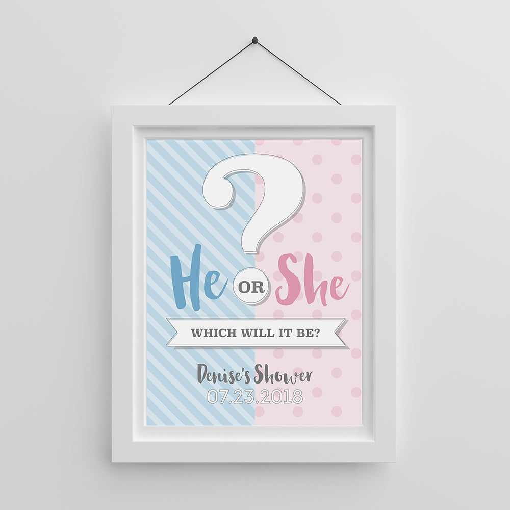 Baby Shower or Gender Reveal Party Picture Frame for Wedding Favors Size 4 x 6 Pink Table Number Frame