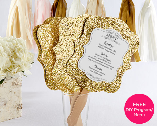 Load image into Gallery viewer, Gold Glitter Hand Fan (Personalization Available) (Set of 12)