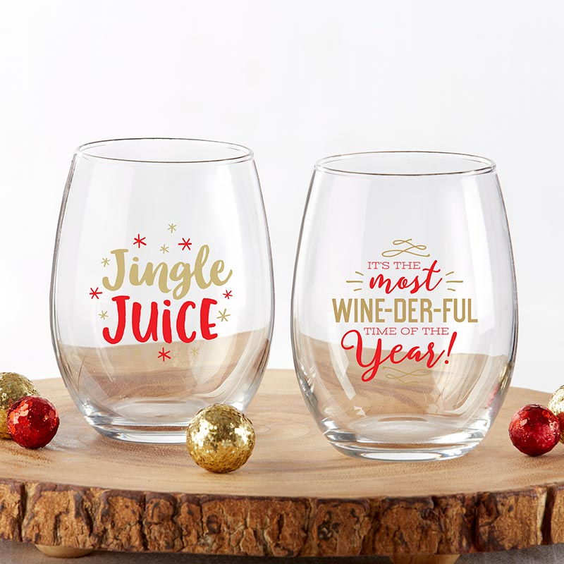 Red & Gold Christmas 15 oz. Stemless Wine Glass (Set of 2)