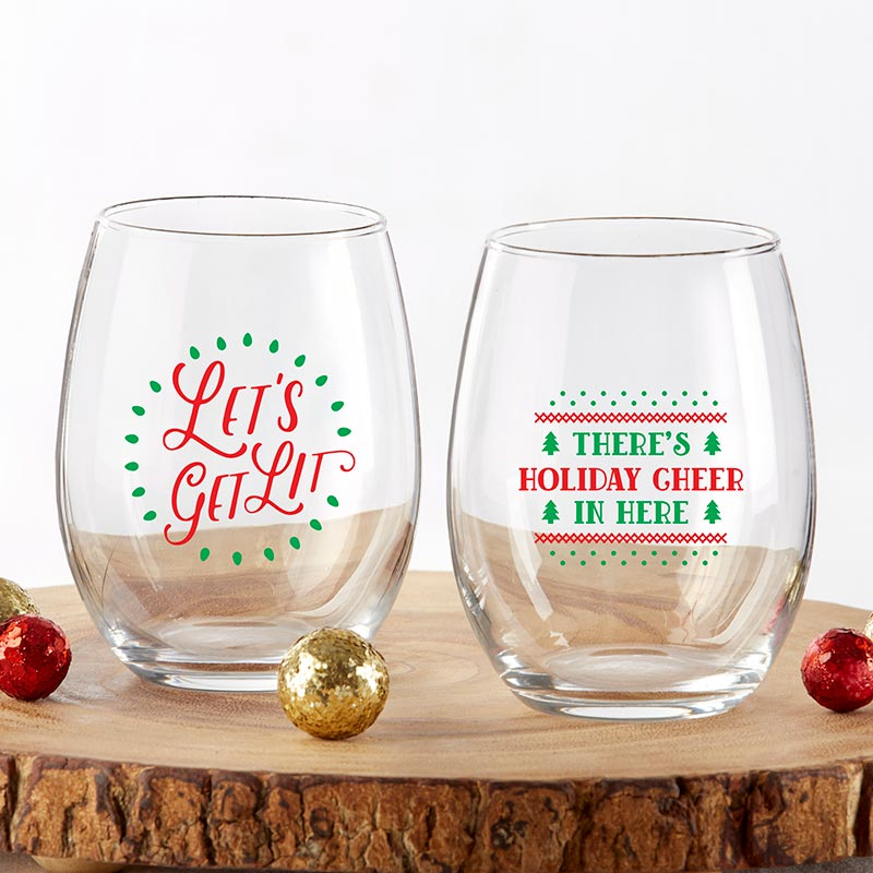 Red & Green Christmas 15 oz. Stemless Wine Glass (Set of 2)