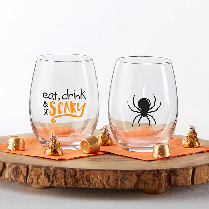 Halloween 15 oz. Stemless Wine Glass (Set of 2)