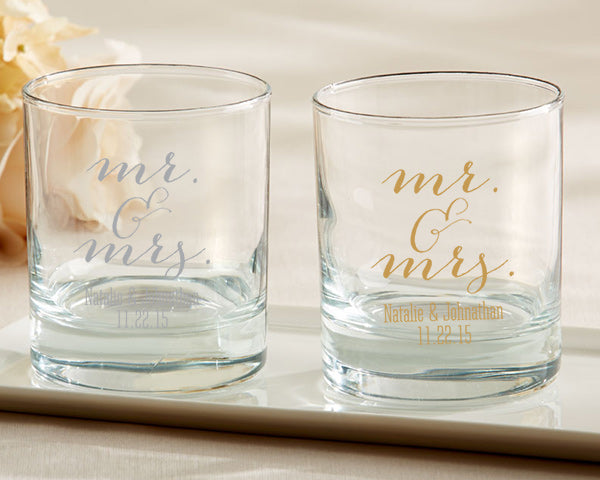 Personalized 9 oz. Rocks Glasses - Mr. & Mrs.