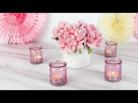Load and play video in Gallery viewer, Vintage Pink Glass Tea Light Holder (Set of 4)