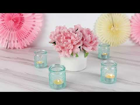 Load and play video in Gallery viewer, Vintage Blue Glass Tea Light Holder (Set of 4)
