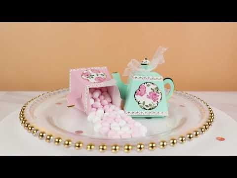 Load and play video in Gallery viewer, Tea Time Whimsy Teapot Favor Box - Blue (Set of 24)