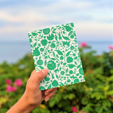 Green Botanical greeting card at beach