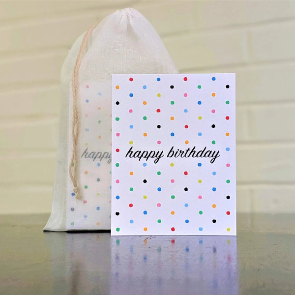 Happy Birthday Polka Dots card, single card in front of set