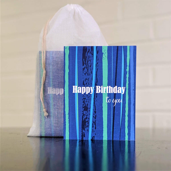 Stripes birthday card in blue, single card in front of set