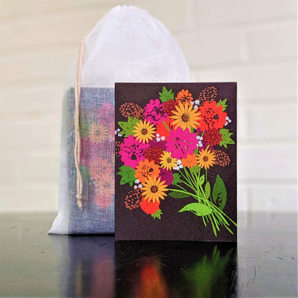 Bouquet of Fall Blooms greeting card, single card in front of set in sheer cotton pouch