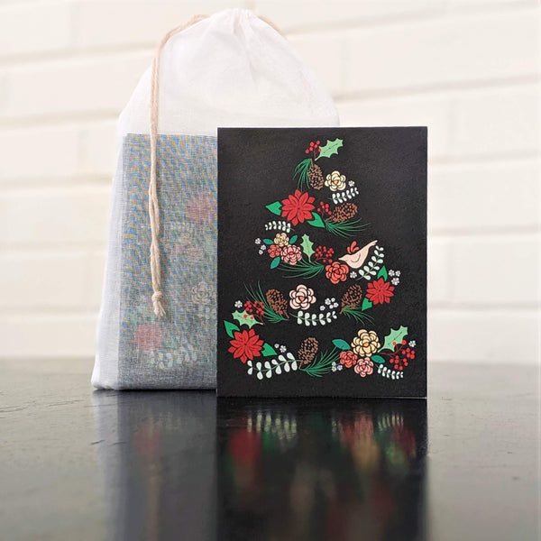 Floral Garland Tree card stationery, with set of 6 in 100% cotton pouch