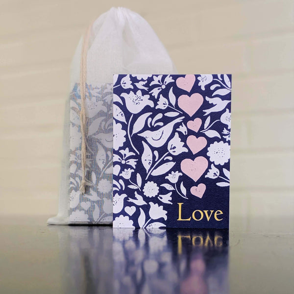 Love Collage greeting card, single card in front of set